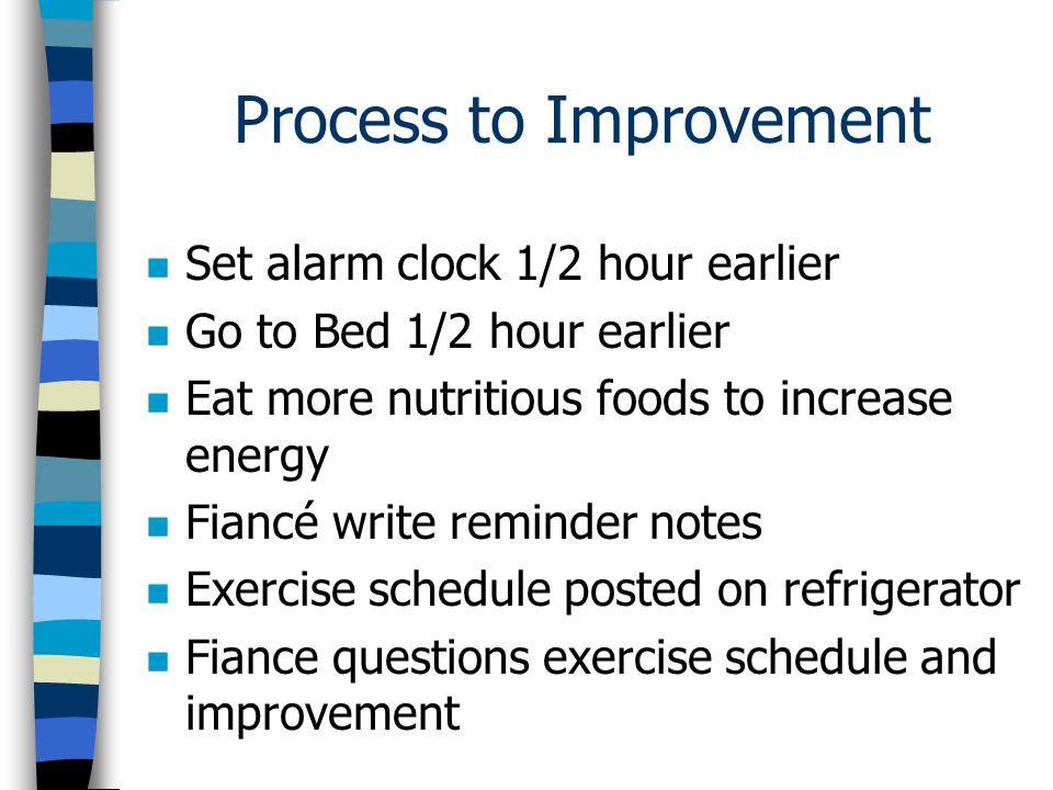 Results of Improvement n Increased days of exercise n Weight loss of 5.5 lbs n Increased energy n Increased self esteem n Excitement about exercise