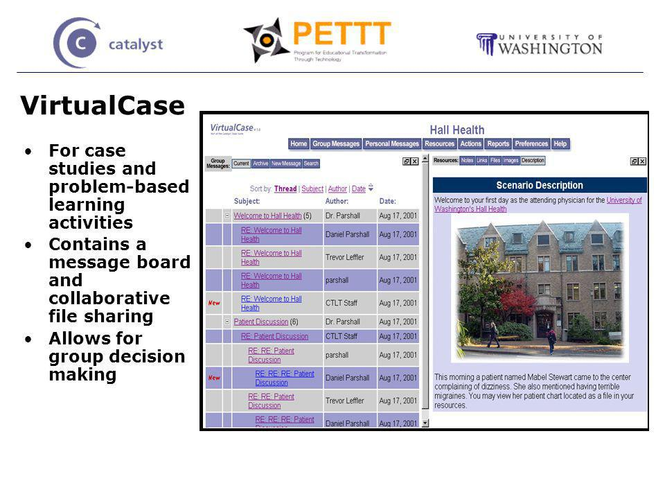 VirtualCase For case studies and problem-based learning activities Contains a message board and collaborative file sharing Allows for group decision making