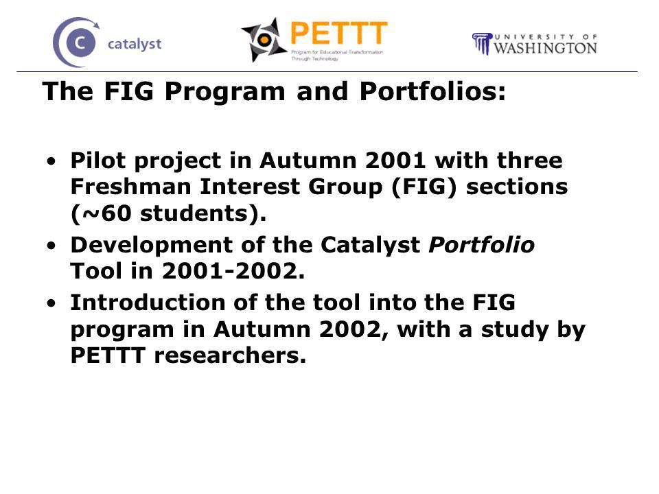 The FIG Program and Portfolios: Pilot project in Autumn 2001 with three Freshman Interest Group (FIG) sections (~60 students).