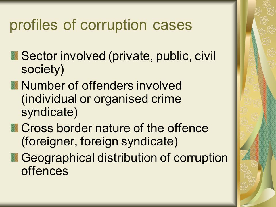 profiles of corruption cases Sector involved (private, public, civil society) Number of offenders involved (individual or organised crime syndicate) Cross border nature of the offence (foreigner, foreign syndicate) Geographical distribution of corruption offences