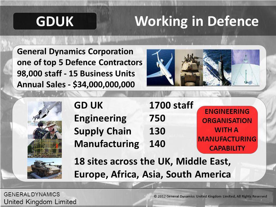 GENERAL DYNAMICS United Kingdom Limited © 2012 General Dynamics United Kingdom Limited, All Rights Reserved Working in Defence General Dynamics Corpor