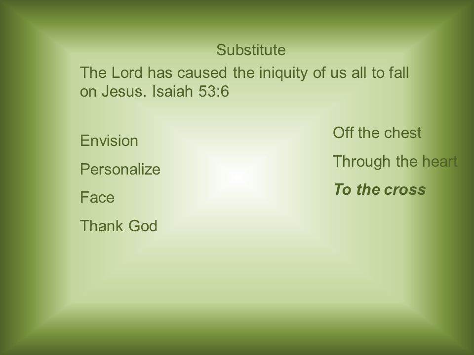 Substitute The Lord has caused the iniquity of us all to fall on Jesus.