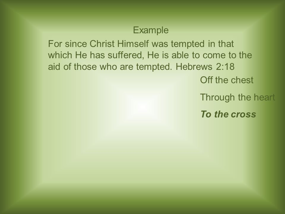 Example For since Christ Himself was tempted in that which He has suffered, He is able to come to the aid of those who are tempted.