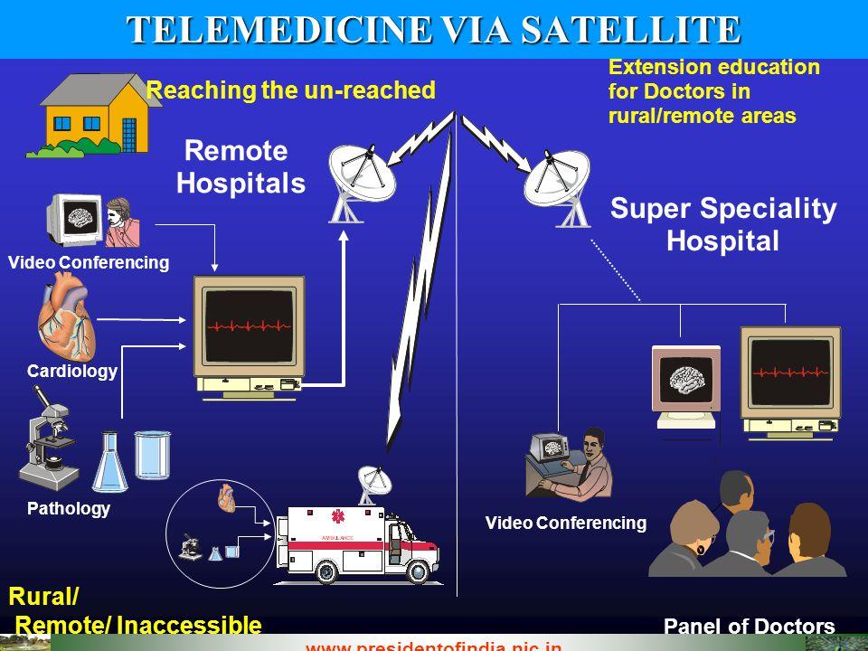 TELEMEDICINE VIA SATELLITE Panel of Doctors Rural/ Remote/ Inaccessible www.presidentofindia.nic.in