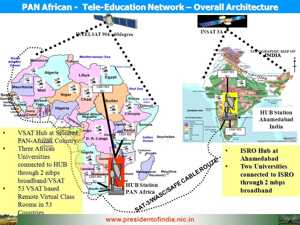 SAT-3/WASC/SAFE CABLE ROUTE HUB Station PAN Africa HUB Station Ahamedabad India INSAT 3A INTELSAT 904 – 60degree ISRO Hub at AhamedabadISRO Hub at Aha
