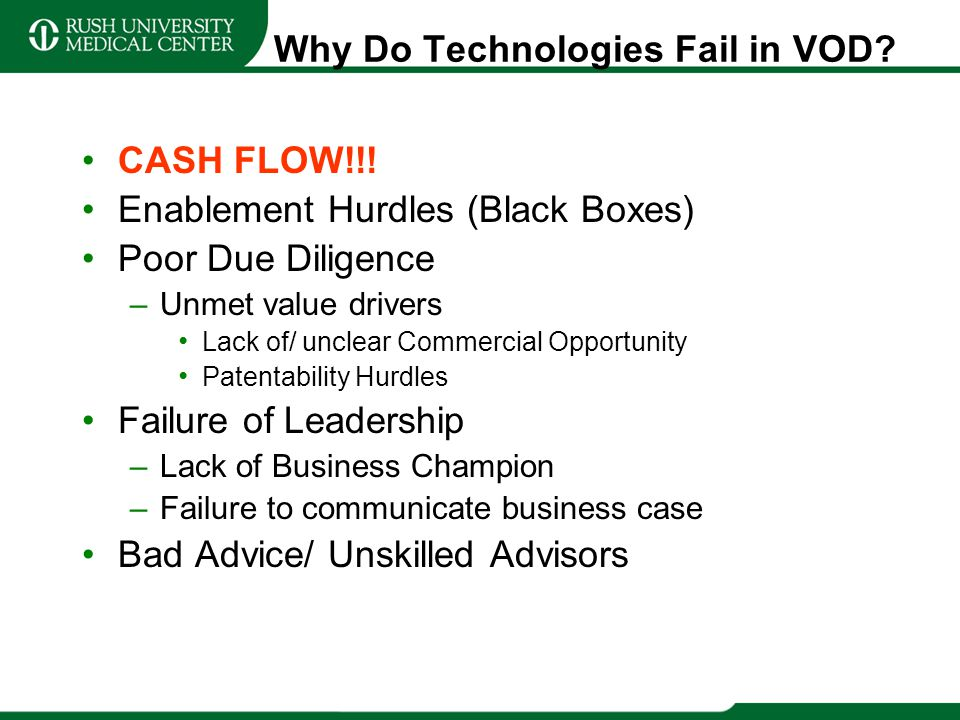 Why Do Technologies Fail in VOD? CASH FLOW!!! Enablement Hurdles (Black Boxes) Poor Due Diligence –Unmet value drivers Lack of/ unclear Commercial Opp