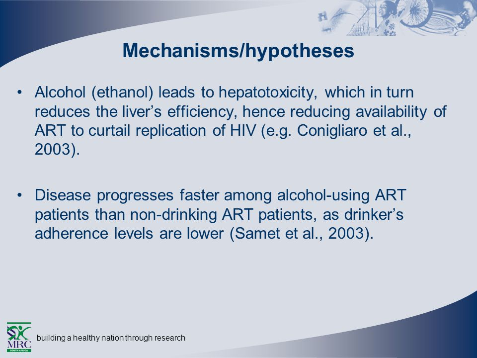 building a healthy nation through research Mechanisms/hypotheses Alcohol (ethanol) leads to hepatotoxicity, which in turn reduces the livers efficiency, hence reducing availability of ART to curtail replication of HIV (e.g.