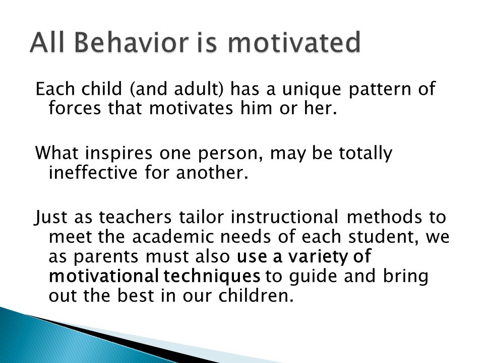 Each child (and adult) has a unique pattern of forces that motivates him or her.