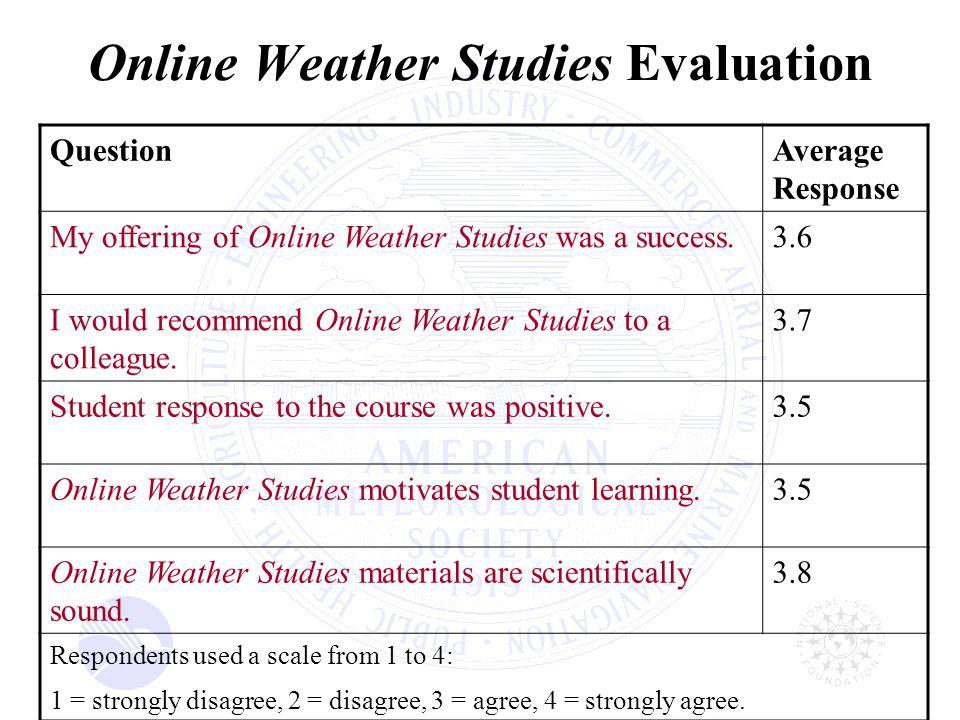 Online Weather Studies Evaluation QuestionAverage Response My offering of Online Weather Studies was a success.3.6 I would recommend Online Weather Studies to a colleague.