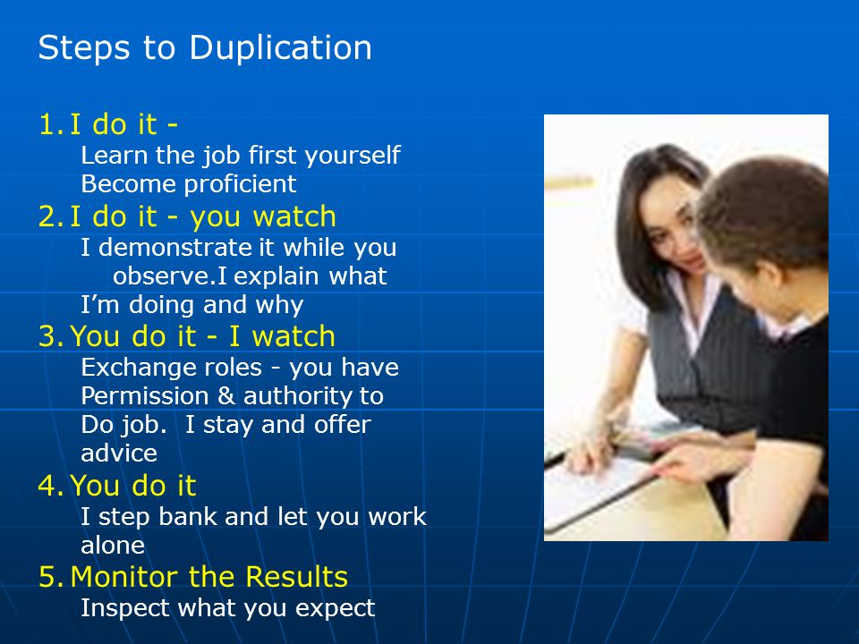 Steps to Duplication 1.I do it - Learn the job first yourself Become proficient 2.I do it - you watch I demonstrate it while you observe.I explain wha