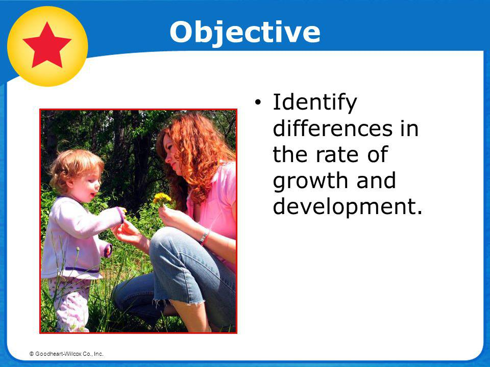 © Goodheart-Willcox Co., Inc. Objective Identify differences in the rate of growth and development.