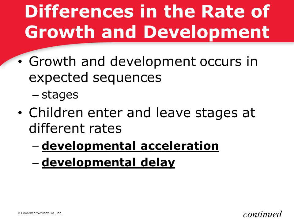 © Goodheart-Willcox Co., Inc. Differences in the Rate of Growth and Development Growth and development occurs in expected sequences – stages Children