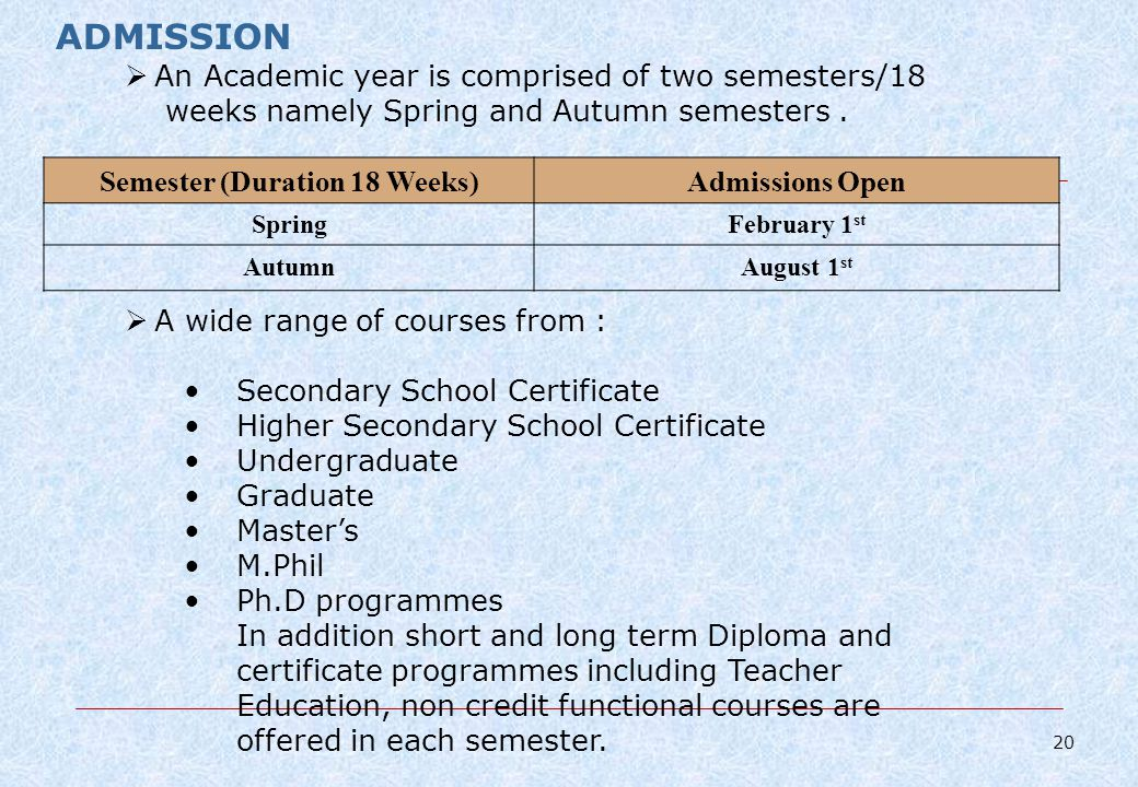 ADMISSION An Academic year is comprised of two semesters/18 weeks namely Spring and Autumn semesters.