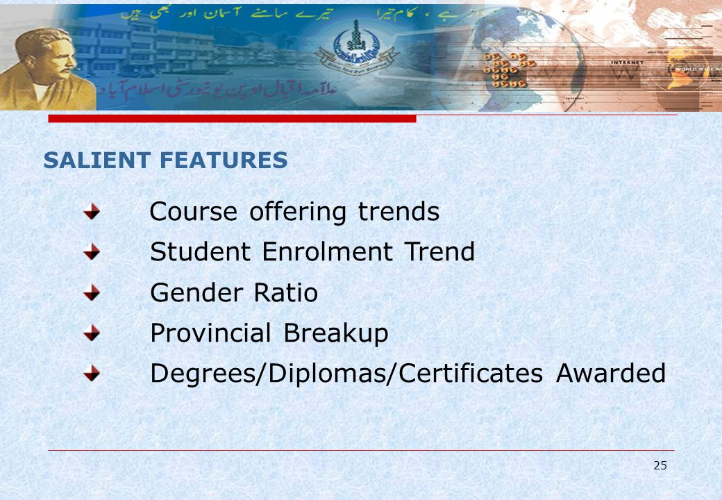25 SALIENT FEATURES Course offering trends Student Enrolment Trend Gender Ratio Provincial Breakup Degrees/Diplomas/Certificates Awarded