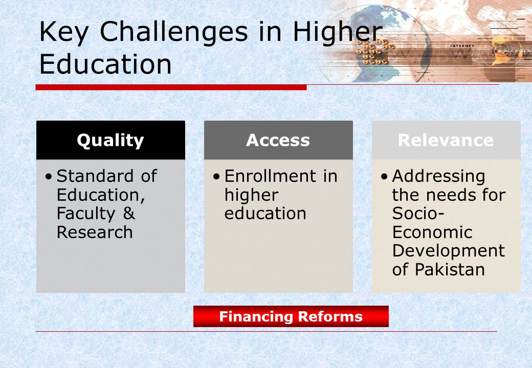 Key Challenges in Higher Education Quality Standard of Education, Faculty & Research Access Enrollment in higher education Relevance Addressing the ne