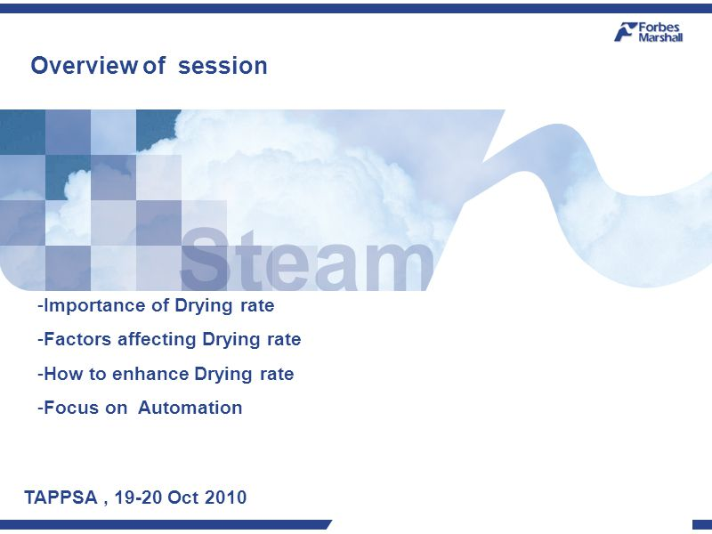 Overview of session TAPPSA, 19-20 Oct 2010 -Importance of Drying rate -Factors affecting Drying rate -How to enhance Drying rate -Focus on Automation