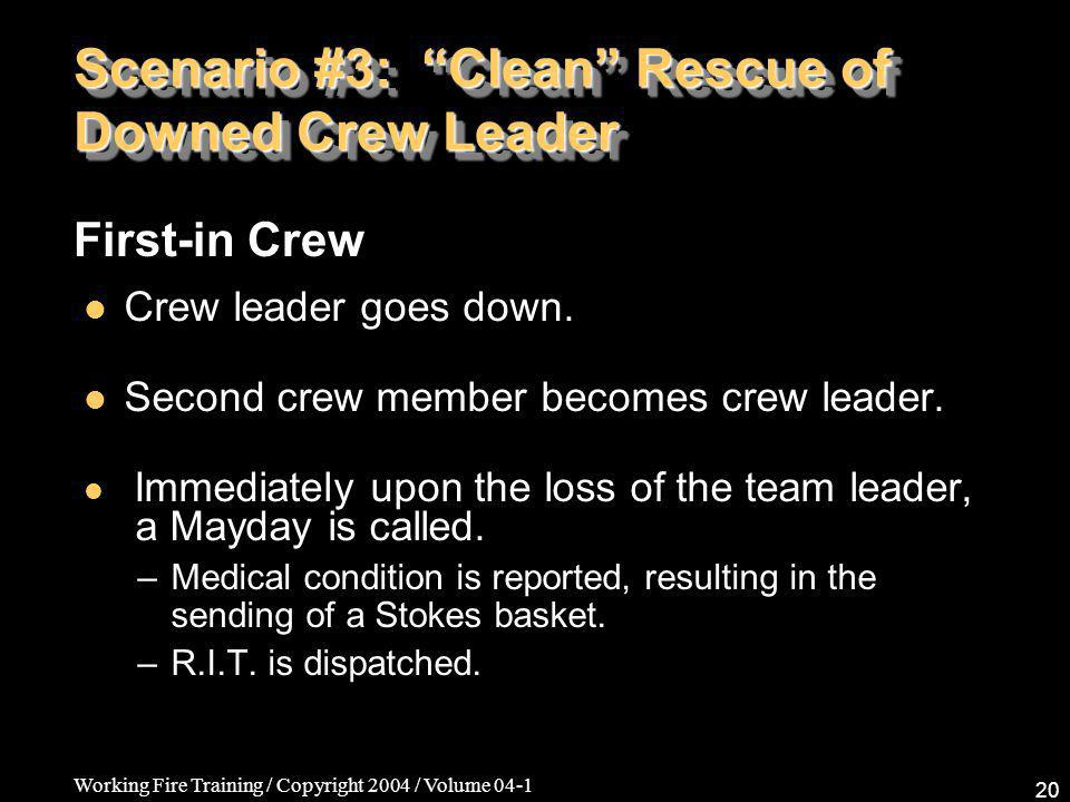 Working Fire Training / Copyright 2004 / Volume 04-1 20 Scenario #3: Clean Rescue of Downed Crew Leader Crew leader goes down.