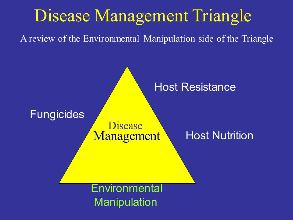Fungicides Host Resistance Environmental Manipulation Disease Management Host Nutrition Disease Management Triangle A review of the Environmental Manipulation side of the Triangle