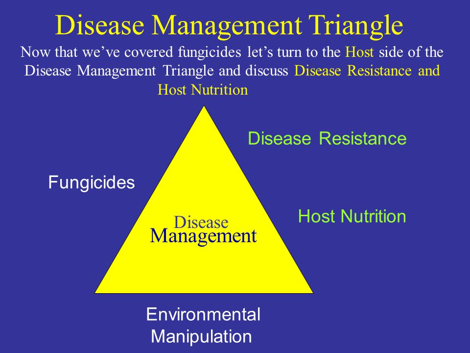 Fungicides Disease Resistance Environmental Manipulation Disease Management Host Nutrition Disease Management Triangle Now that weve covered fungicides lets turn to the Host side of the Disease Management Triangle and discuss Disease Resistance and Host Nutrition