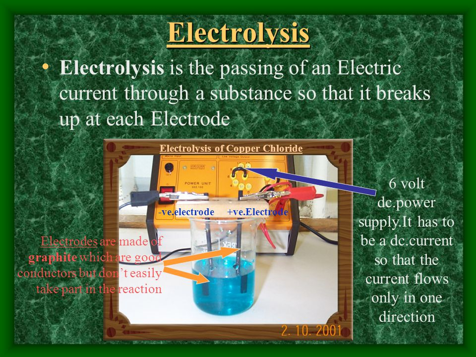 Electrolysis Electrolysis is the passing of an Electric current through a substance so that it breaks up at each Electrode -ve.electrode+ve.Electrode
