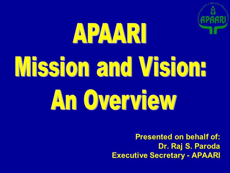 Presented on behalf of: Dr. Raj S. Paroda Executive Secretary - APAARI