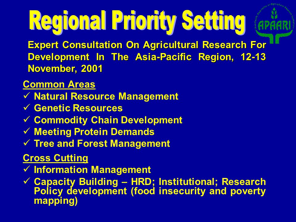 Expert Consultation On Agricultural Research For Development In The Asia-Pacific Region, 12-13 November, 2001 Common Areas Natural Resource Management Genetic Resources Commodity Chain Development Meeting Protein Demands Tree and Forest Management Cross Cutting Information Management Capacity Building – HRD; Institutional; Research Policy development (food insecurity and poverty mapping)