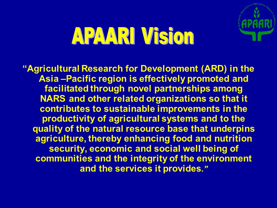 Objectives Advocacy to promote ICT/ICM in ARD Capacity Building in Weaker NARS Integration of National, Regional and Global Information Resources APARIS: Asia-Pacific Agricultural Research Information System