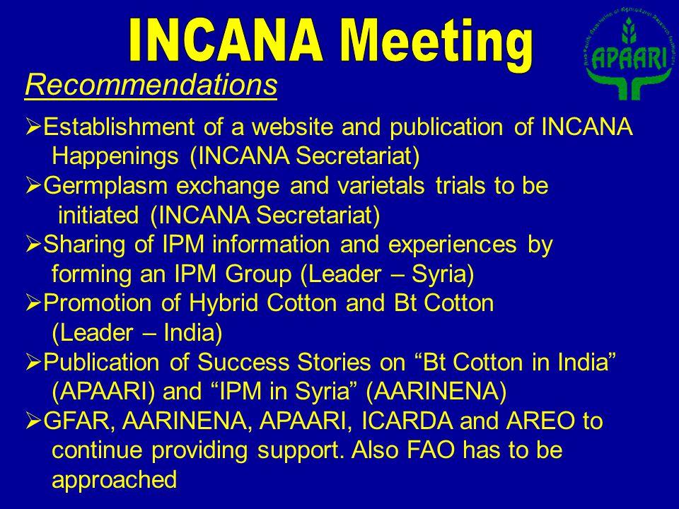 Establishment of a website and publication of INCANA Happenings (INCANA Secretariat) Germplasm exchange and varietals trials to be initiated (INCANA S