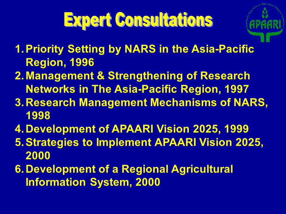 1.Priority Setting by NARS in the Asia-Pacific Region, 1996 2.Management & Strengthening of Research Networks in The Asia-Pacific Region, 1997 3.Research Management Mechanisms of NARS, 1998 4.Development of APAARI Vision 2025, 1999 5.Strategies to Implement APAARI Vision 2025, 2000 6.Development of a Regional Agricultural Information System, 2000