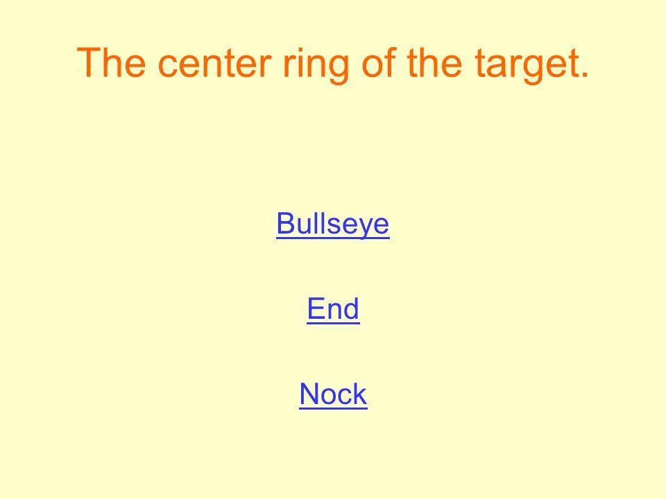 The center ring of the target. Bullseye End Nock