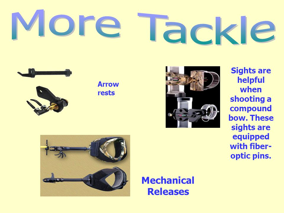 Mechanical Releases Sights are helpful when shooting a compound bow. These sights are equipped with fiber- optic pins. Arrow rests