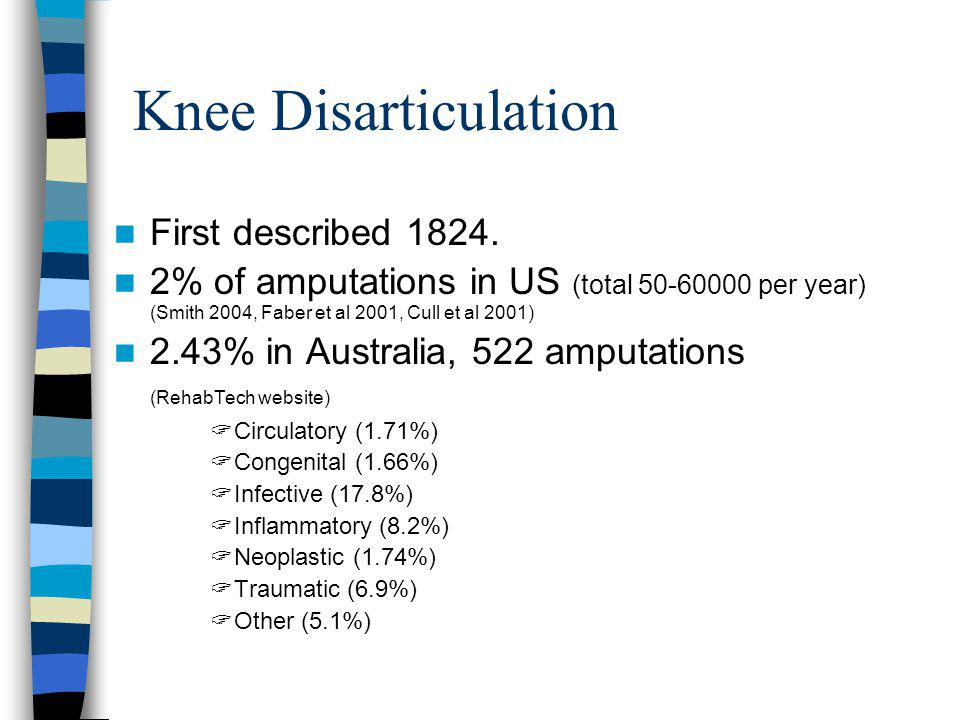 Knee Disarticulation First described 1824. 2% of amputations in US (total 50-60000 per year) (Smith 2004, Faber et al 2001, Cull et al 2001) 2.43% in