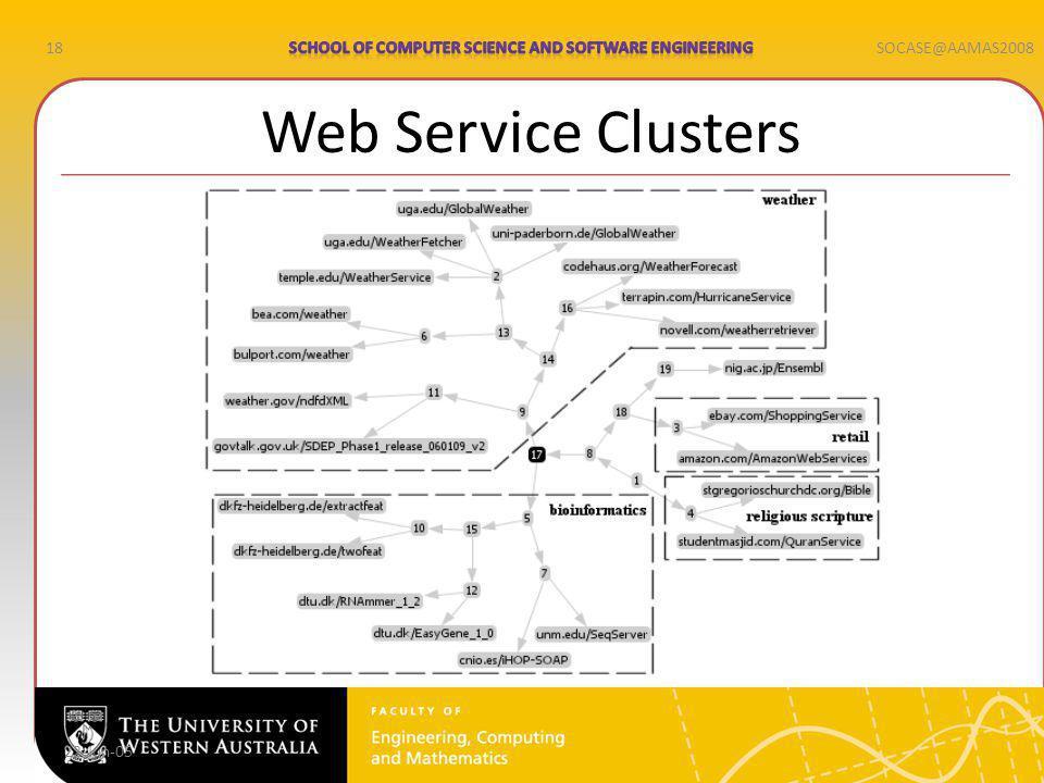 18SOCASE@AAMAS2008 Web Service Clusters 22-Jun-05