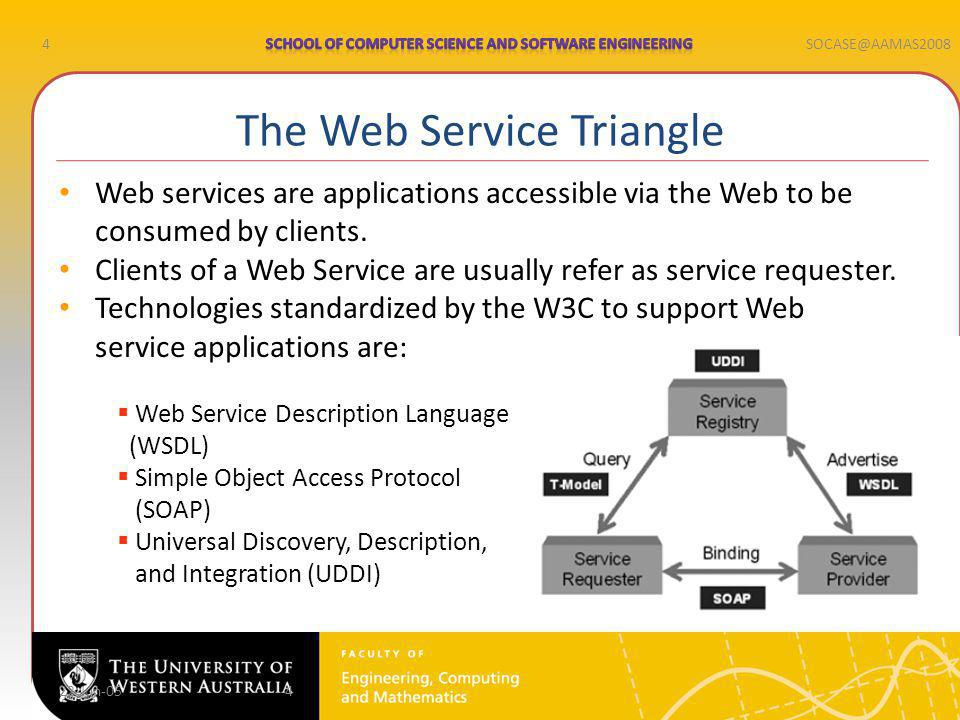 4SOCASE@AAMAS2008 22-Jun-054 Web services are applications accessible via the Web to be consumed by clients.