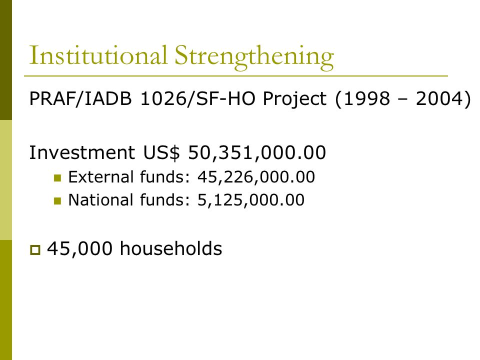 Institutional Strengthening PRAF/IADB 1026/SF-HO Project (1998 – 2004) Investment US$ 50,351,000.00 External funds: 45,226,000.00 National funds: 5,12