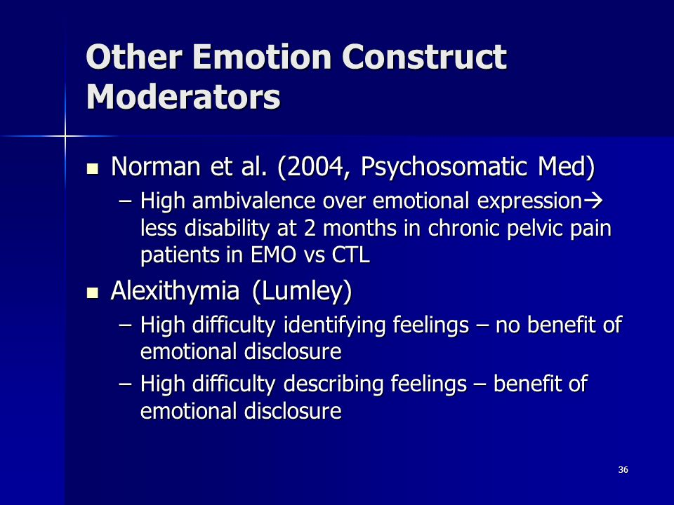 36 Other Emotion Construct Moderators Norman et al. (2004, Psychosomatic Med) Norman et al. (2004, Psychosomatic Med) –High ambivalence over emotional