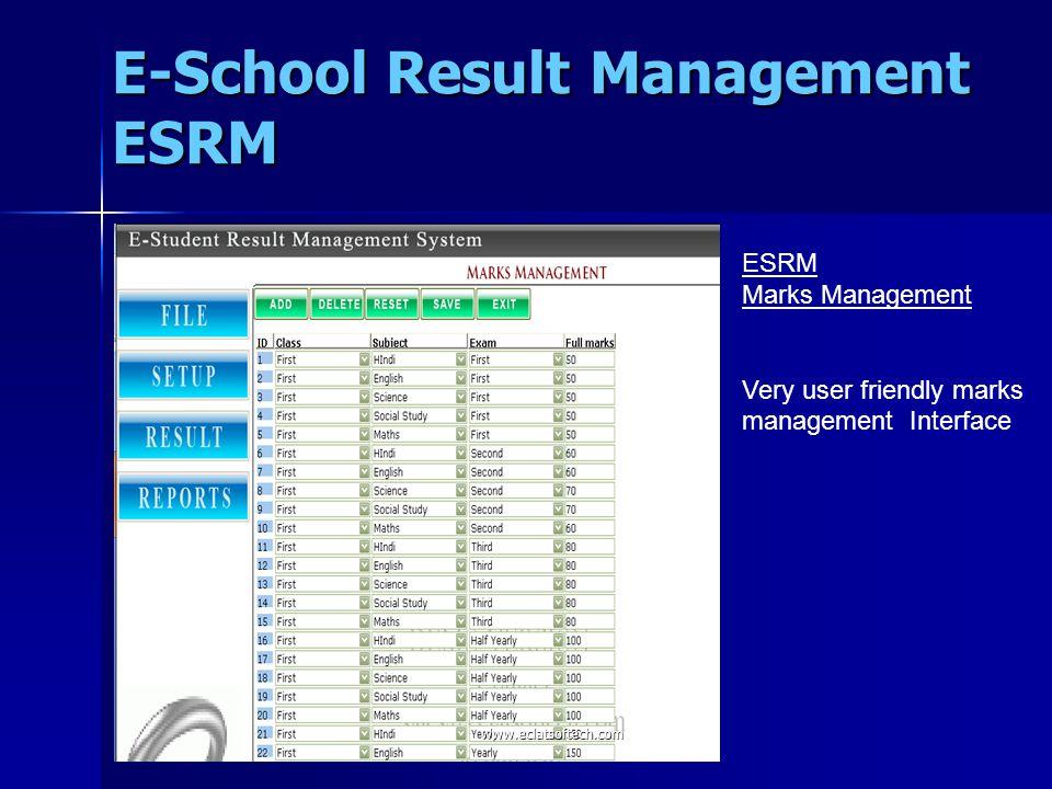 ESRM 1.Student Performance through Graphs 2.Student Performance Exam wise through Graphs 3.Student Performance Subject wise through Graphs 4.Teacher Performance through Graphs E-School Result Management ESRM www.eclatsoftech.com