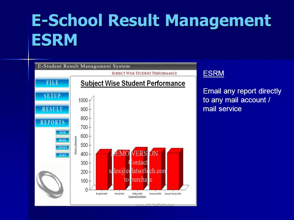 ESRM Email any report directly to any mail account / mail service E-School Result Management ESRM www.eclatsoftech.com