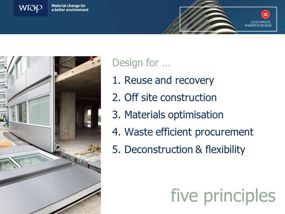 Design for … 1. Reuse and recovery 2. Off site construction 3.