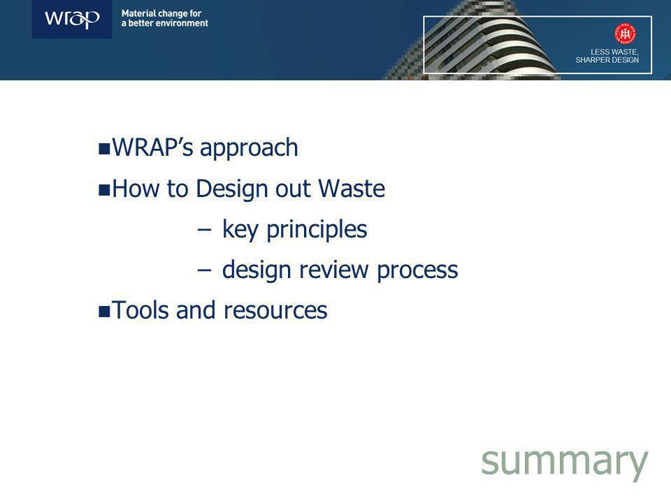 WRAPs approach How to Design out Waste – key principles – design review process Tools and resources summary