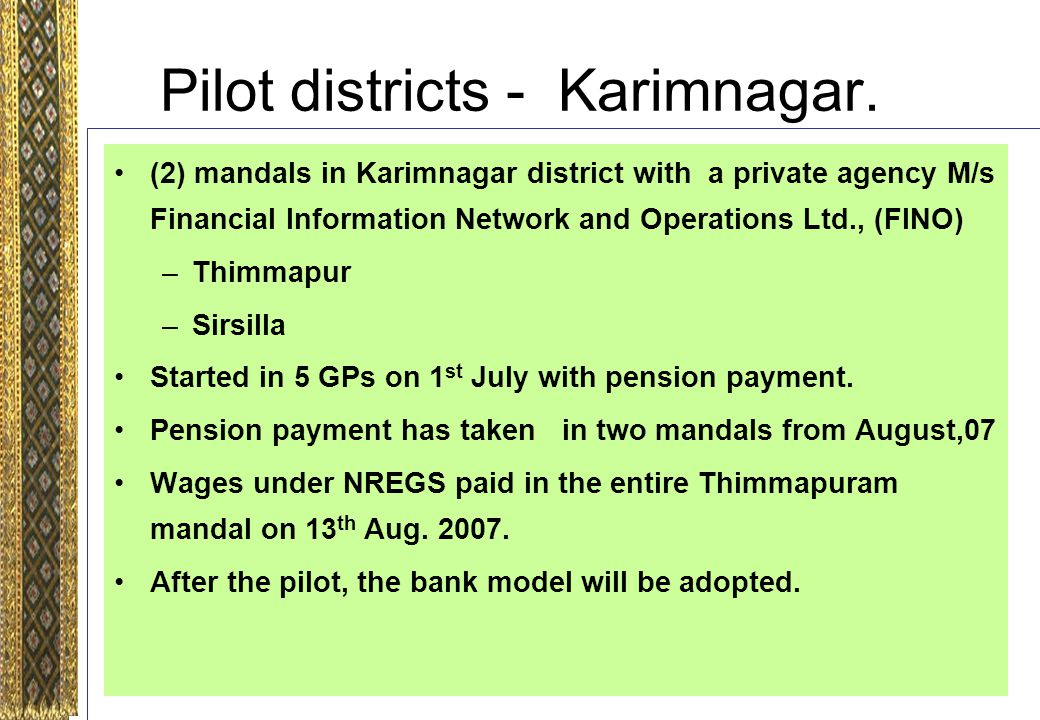 Pilot districts - Karimnagar.