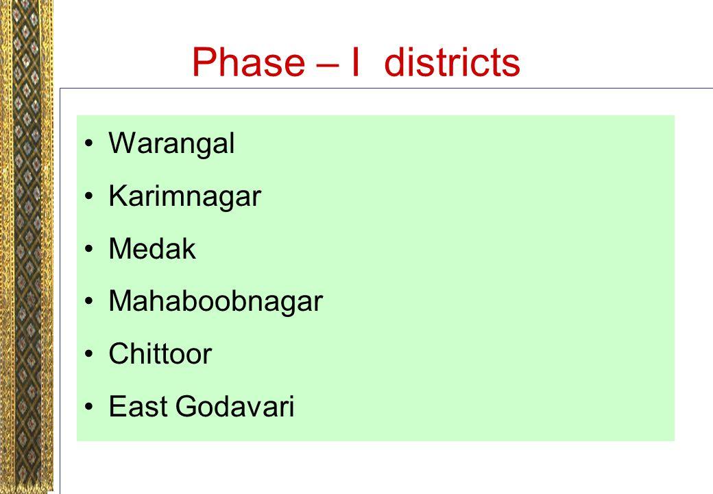 Phase – I districts Warangal Karimnagar Medak Mahaboobnagar Chittoor East Godavari