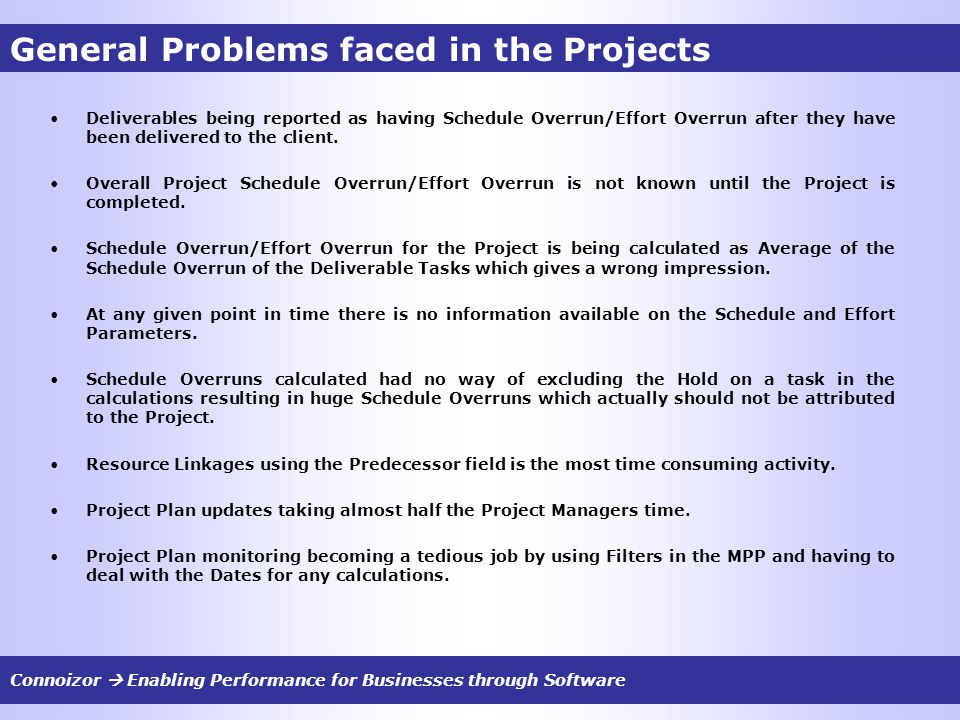General Problems faced in the Projects Deliverables being reported as having Schedule Overrun/Effort Overrun after they have been delivered to the client.