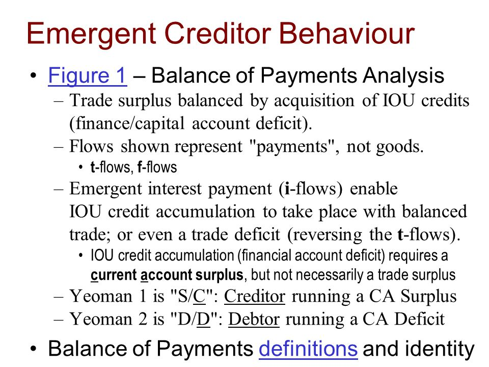 Emergent Creditor Behaviour Figure 1 – Balance of Payments AnalysisFigure 1 –Trade surplus balanced by acquisition of IOU credits (finance/capital account deficit).