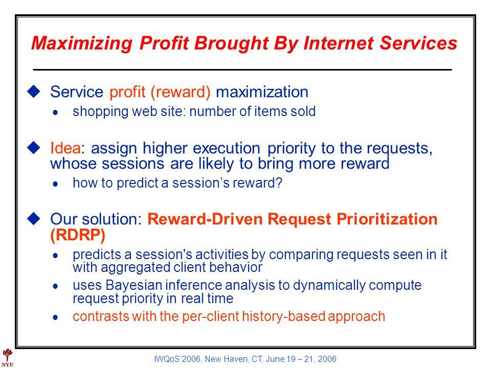 IWQoS2006, New Haven, CT, June 19 – 21, 2006 Maximizing Profit Brought By Internet Services uService profit (reward) maximization shopping web site: n