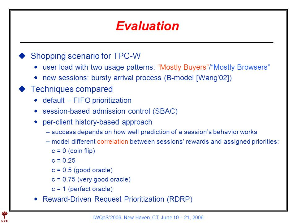 IWQoS2006, New Haven, CT, June 19 – 21, 2006 Evaluation uShopping scenario for TPC-W user load with two usage patterns: Mostly Buyers/Mostly Browsers
