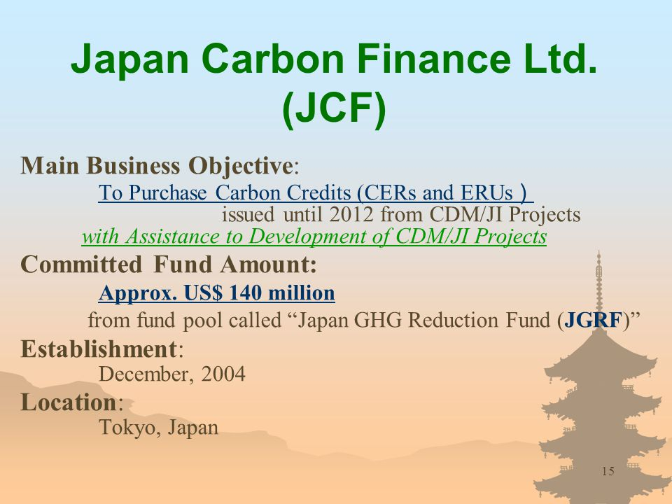 15 Japan Carbon Finance Ltd.