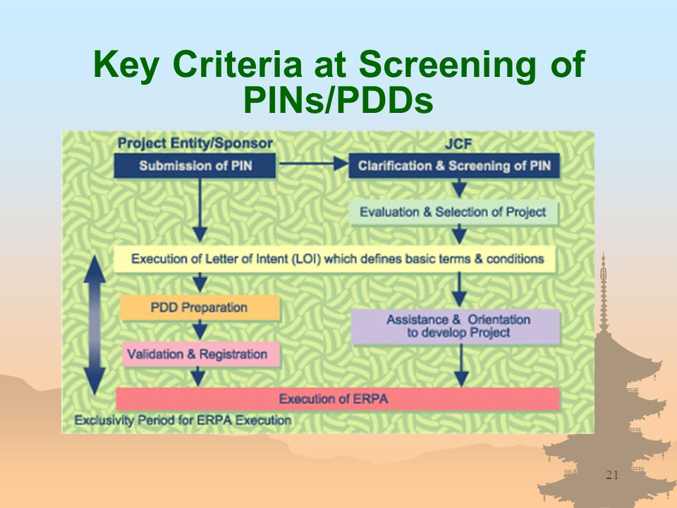 21 Key Criteria at Screening of PINs/PDDs