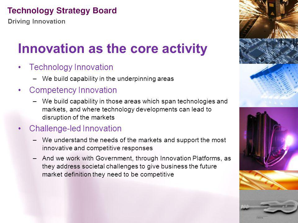 Driving Innovation Innovation as the core activity Technology Innovation –We build capability in the underpinning areas Competency Innovation –We buil