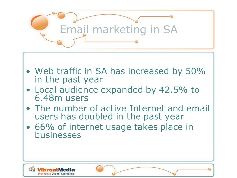 Email marketing in SA Web traffic in SA has increased by 50% in the past year Local audience expanded by 42.5% to 6.48m users The number of active Internet and email users has doubled in the past year 66% of internet usage takes place in businesses
